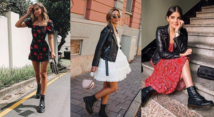 Chicas usando botas con vestido