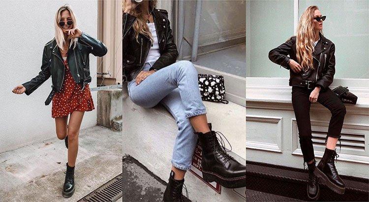 Chicas usando botines con chaqueta de cuero