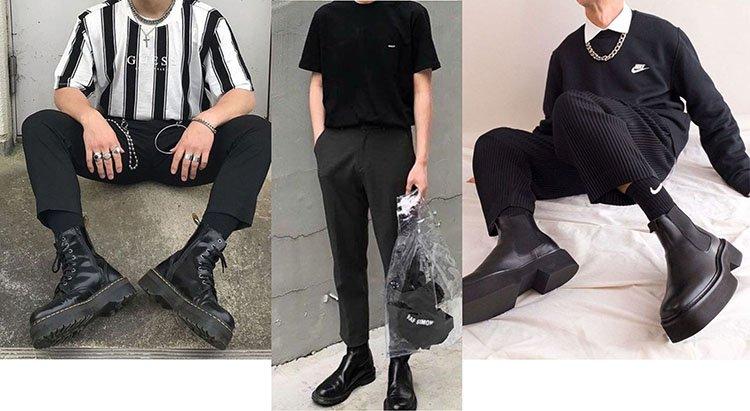 Chicos usando botas negras con outfit negro, o total black