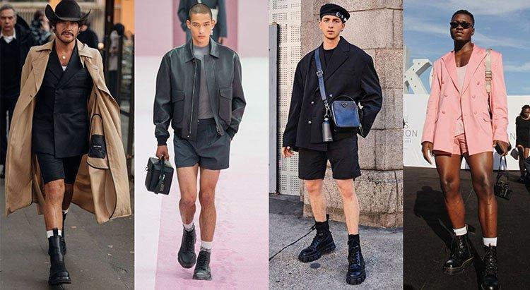Modelos llevan blazer y shorts con botas negras