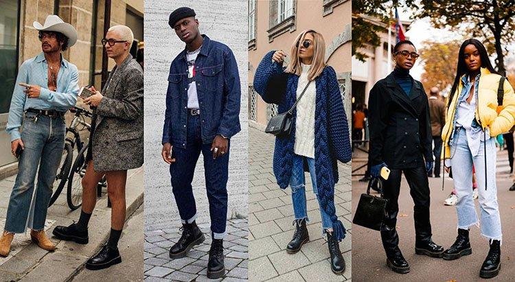 Modelos llevan botines con outfits en denim o mezclilla