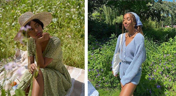 Chicas en jardín usando tejido de punto
